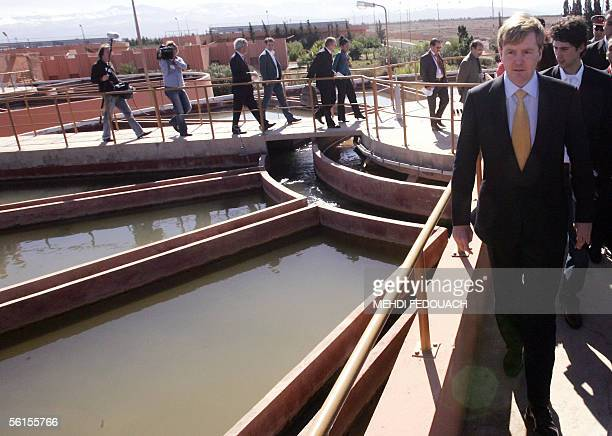 The crown prince of The Netherlands, Willem Alexander, visits 14 November 2005, the ONEP in Sidi Moussa, Morocco. Willem Alexander and his wife...