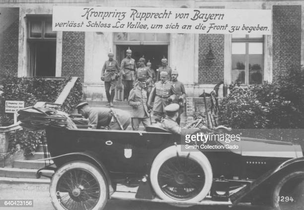 The Crown Prince Rupprecht of Bavaria leaves his Castle La Vallee to go to the front during World War I 1915 From the New York Public Library