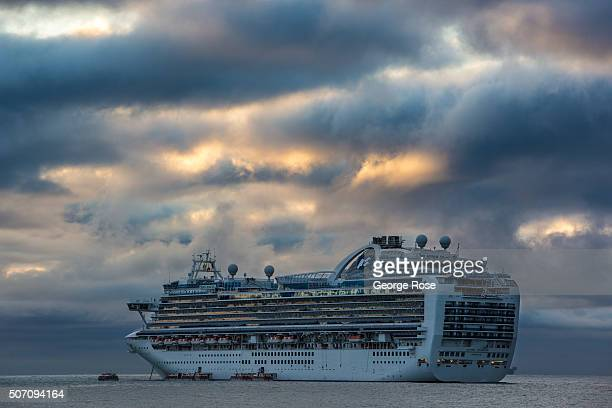 The Crown Princess cruise ship berths overnight in the Harbor on January 20 in Santa Barbara California Because of its close proximity to Southern...