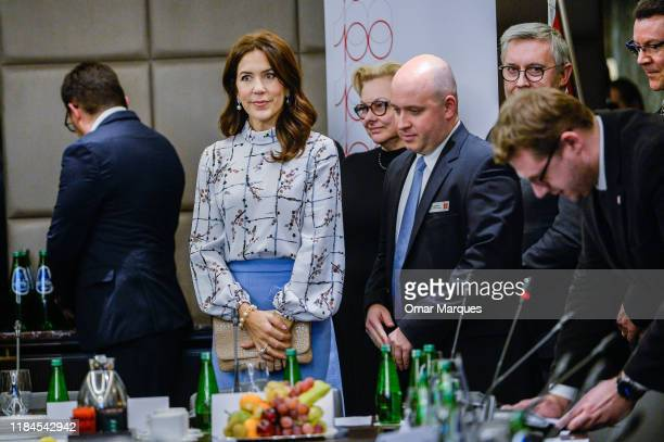 The Crown Princess Mary of Denmark arrives for a debate on the integration of people with disabilities at Bristol Hotel November 25 2019 in Warsaw...