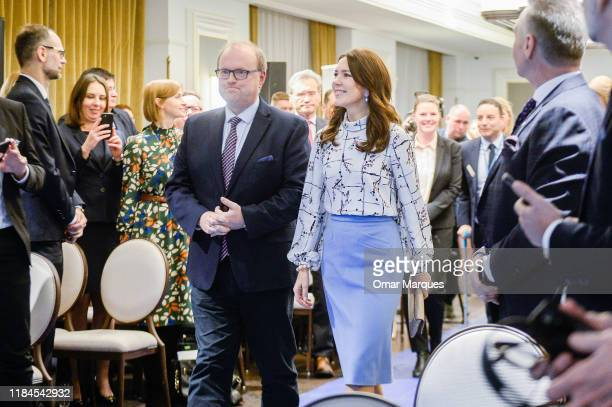 The Crown Princess Mary of Denmark arrives for a panel discussion on the programme of the fight with diabetes at Bristol Hotel November 25 2019 in...