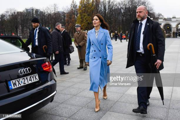 The Crown Princess Mary of Denmark walks to her car after paying respects at the Tomb of Unknown Soldiers on November 25 2019 in Warsaw Poland The...