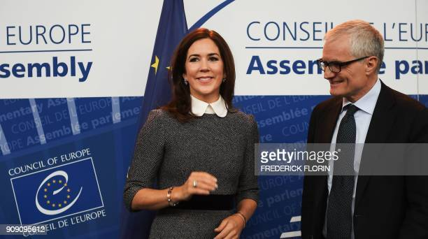 The Crown Princess of Denmark and Countess of Monpezat Mary Donaldson and the new President of the Parliamentary Assembly of the Council of Europe...