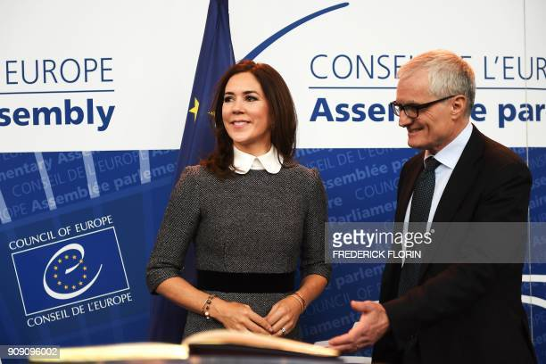 The Crown Princess of Denmark and Countess of Monpezat Mary Donaldson stands by the new President of the Parliamentary Assembly of the Council of...
