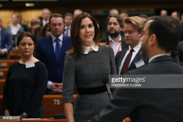 The Crown Princess of Denmark and Countess of Monpezat Mary Donaldson arrives to deliver a speech at the Parliamentary Assembly of the Council of...