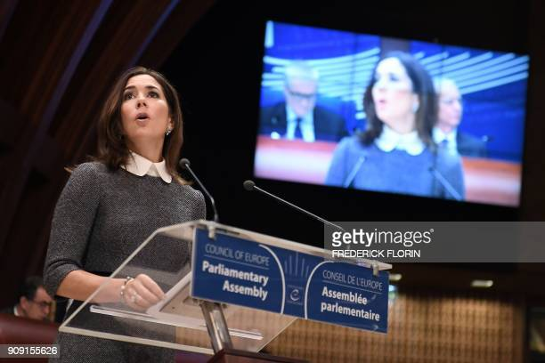 The Crown Princess of Denmark and Countess of Monpezat Mary Donaldson delivers a speech at the Parliamentary Assembly of the Council of Europe on...
