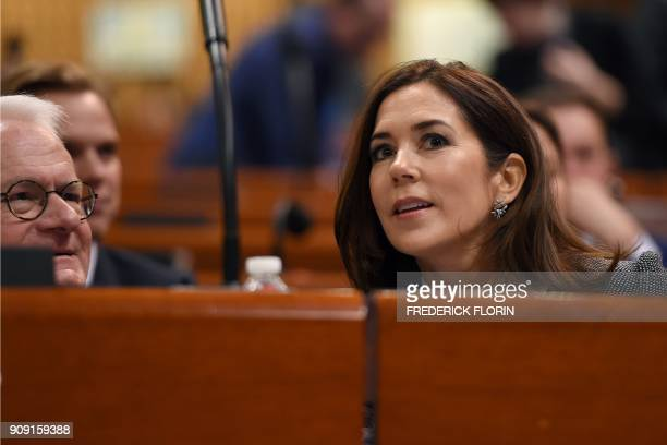 The Crown Princess of Denmark and Countess of Monpezat Mary Donaldson looks on before delivering a speech at the Parliamentary Assembly of the...