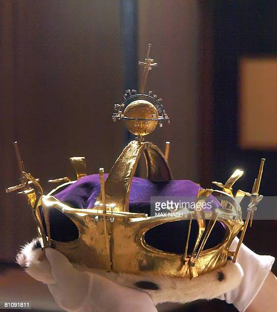 The crown worn by Britain's Prince Charles at his Investiture as Prince of Wales at Caernarfon Castle on July 1 1969 is pictured during a photocall...