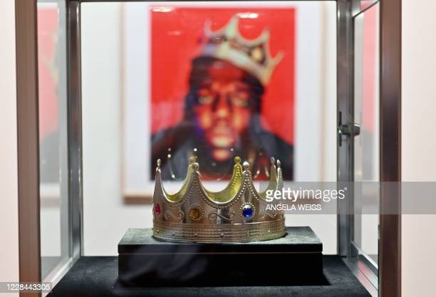 The crown worn by Notorious BIG when photographed as the King of New York is displayed during a press preview at Sotheby's for their Inaugural HIP...