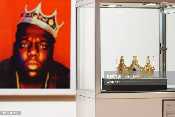 The crown worn by Notorious B.I.G. When photographed by Barron Claiborne as the King of New York is displayed during a preview at Sotheby's for their...