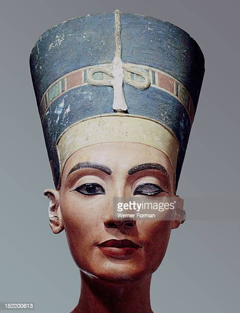 The crowned head of Nefertiti wife of Akhenaton The sculpture was made by the famous sculptor Thutmose and was found in his workshop Egypt Ancient...