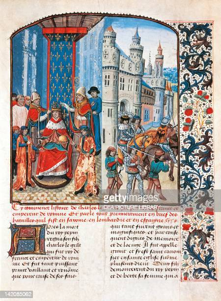 The crowning of Charlemagne miniature from La fleur des histoires by Jean Mansel manuscript France