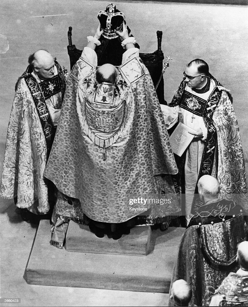 The crowning of Queen Elizabeth II at her Coronation in Westminster Abbey.