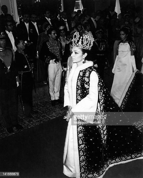 The crowning of the Empress Farah Diba third wife of the last Shah Mohammad Reza Pahlavi and last Empress of Persia Iran 1967