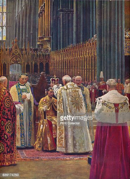 The Crowning of the King' 1937 The Archbishop Placing the Crown of St Edward on His Majesty's Head King George ascended the throne upon the...