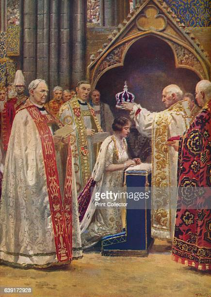 The Crowning of the Queen Consort' 1937 The Archbishop Placing the Crown Upon Her Majesty's Head King George ascended the throne upon the abdication...