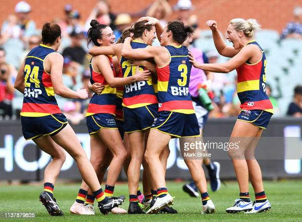 The Crows celebrate a goal by Chelsea Randall of the Adelaide Crows during the AFLW Preliminary Final match between the Adelaide Crows and thew...