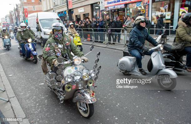 The Croxley Rebels Scooter Club attend the Music Walk Of Fame for The Who Founding Stone Unveiling on Camden High Street on November 19 2019 in...