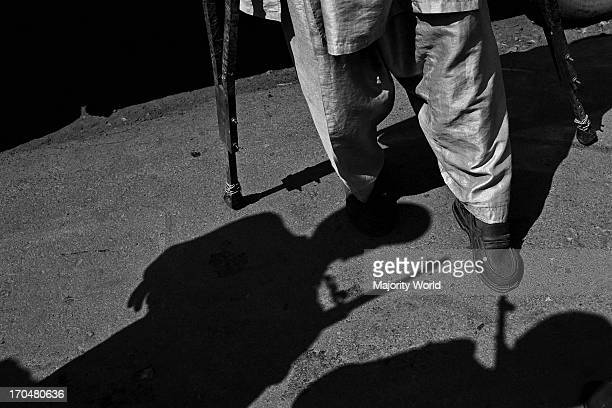 The CRPF check a disabled man before letting him attend a political rally held by the president of PDP Mehbooba Mufti Sayeed before the state...