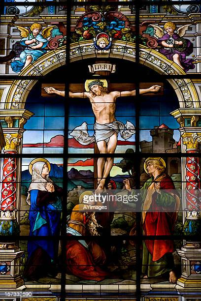 the crucifixation by f. zettler (stockholm) - the crucifixion stock pictures, royalty-free photos & images