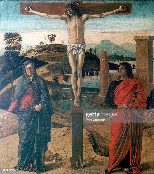 'The Crucifixion' 1465 Christ is on the cross with the spear wound in his side The Virgin Mary and St John the Apostle stand at the foot of the cross...