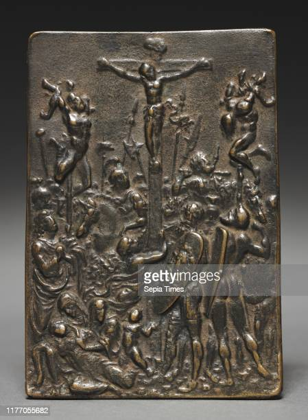 The Crucifixion, 16th century. Cast after a model by Moderno . Bronze; overall: 10.8 x 7.7 cm .