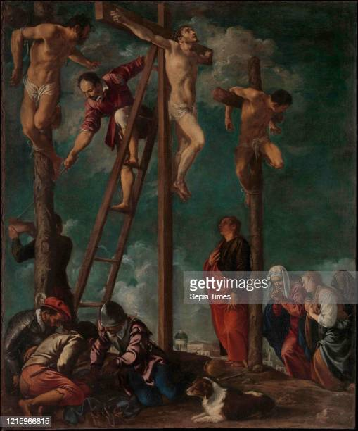 The Crucifixion, ca. 1625-30, Oil on canvas, 48 3/4 _ 40 1/2 in. , Paintings, Pedro Orrente , As recounted in the Gospel of Matthew 27:45-49, Christ...