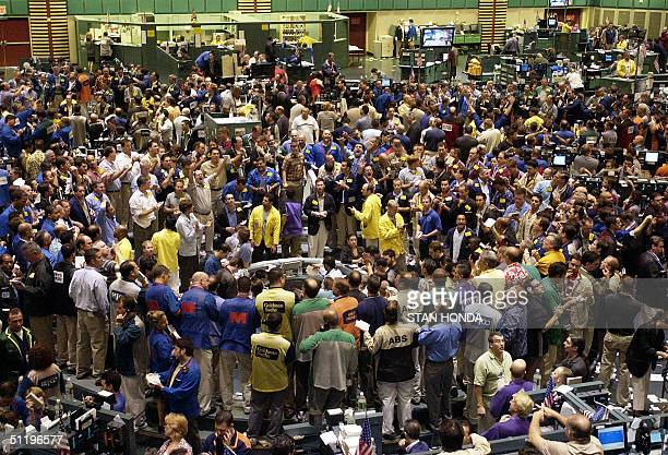 The crude oil futures trading pit 20 August on the floor of the New York Mercantile Exchange World oil prices hit new records racing towards 50 USD...