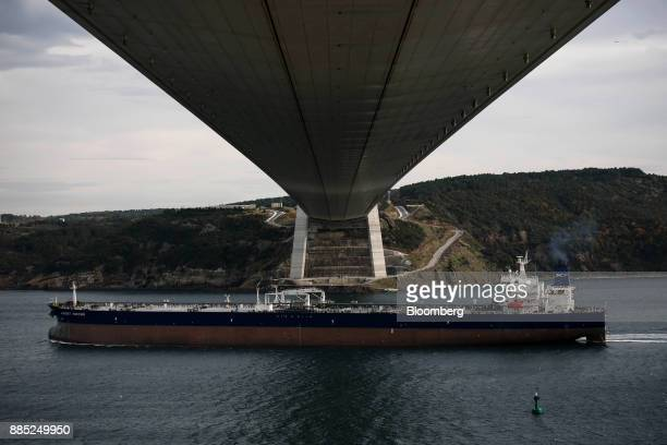 The crude oil tanker Aleksey Kosygin sails out from the city and passes underneath the Yavuz Sultan Bridge also known as the 3rd Bosporus Bridge on...