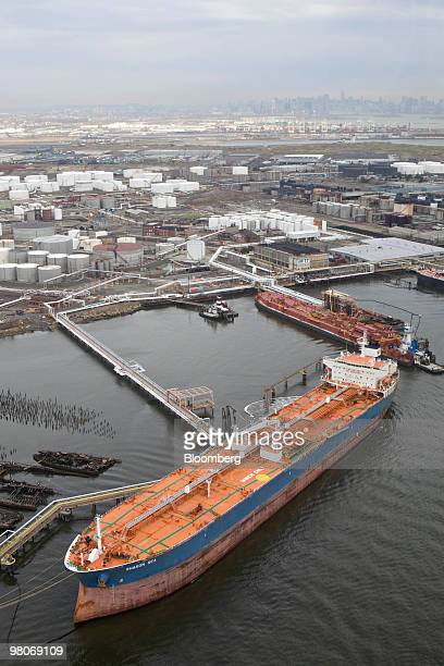 The crude oil tanker Sharon Sea sits berthed in Beyonne New Jersey as viewed from an Astar 350 B2 helicopter made by Eurocopter SA one of six in the...