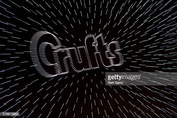 The Crufts logo is seen on first day of Crufts dog show at the NEC on March 6 2014 in Birmingham England Said to be the largest show of its kind in...
