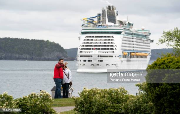 The cruise ship Adventure of the Seas sits off Bar Harbor on Mount Desert Island on Monday June 4 2018 Bar Harbor expects 230000 cruise ship...