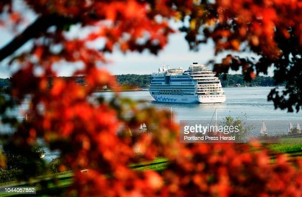 The cruise ship AIDAdiva leaves Portland Harbor framed through leaves that are starting to change colors Friday September 28 2018