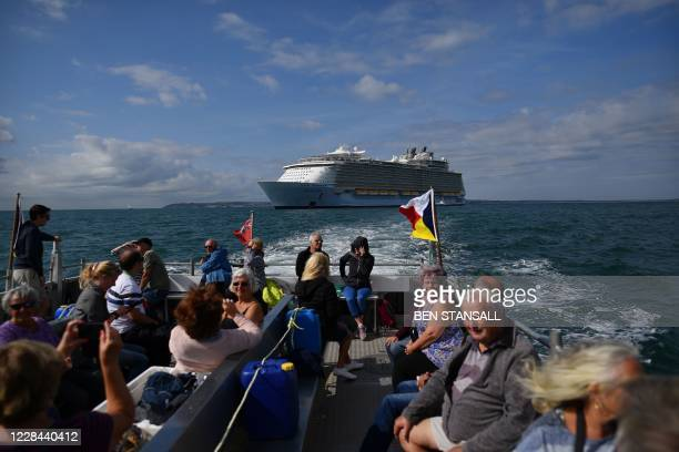 The cruise ship 'Allure of the Seas' is seen during a Mudeford Ferry's cruise ship tour off the Dorset coast in southern England on September 10,...