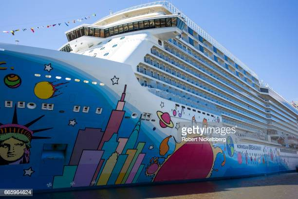 The cruise ship Norwegian Breakaway is docked at a pier along the Hudson River April 2 2017 in New York City The 1069' ocean liner carries up to 3900...