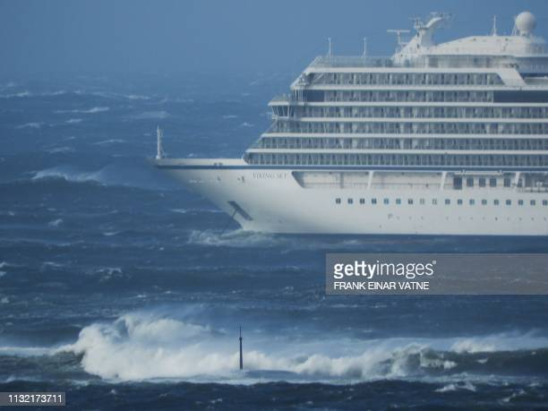 The cruise ship Viking Sky is pictured on March 23 2019 near the west coast of Norway at Hustadvika near Romsdal Emergency services said on March 23...