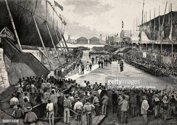 The cruiser Amerigo Vespucci being launched with Queen Margherita and Prince Vittorio Emanuele in attendance Venice drawing by Dante Paolocci...
