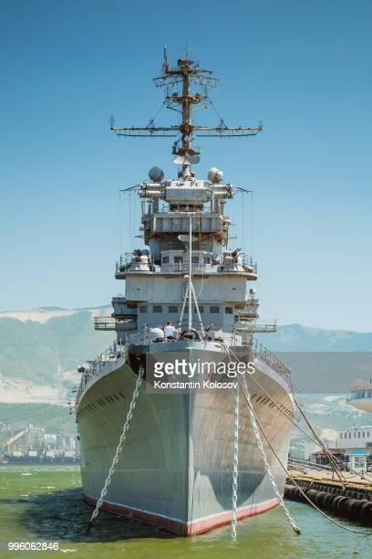 the cruiser mikhail kutuzov at the dock in novorossiysk. - mikhail kutuzov stock pictures, royalty-free photos & images