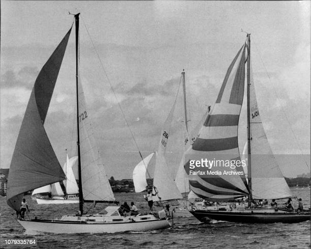 The Cruising Yacht Club of AustraliaThe start of Sydney Noumea Race 1977Cera leads Cuidado and Mark Twain at the start of the race May 07 1977