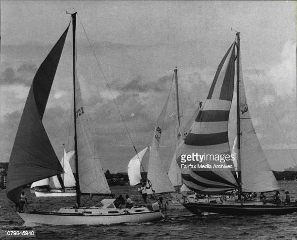 The cruising Yacht Club of AustraliaThe start of UTA's SydneyNoumea Race 1977 Cera leads Cuidado and Mark Twain at the start at the race May 7 1977