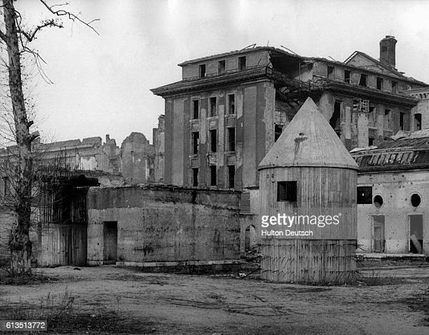 The crumbling facade of the Chancellory Building in Berlin sits atop the air raid shelter which is the site of Adolf Hitler's suicide.