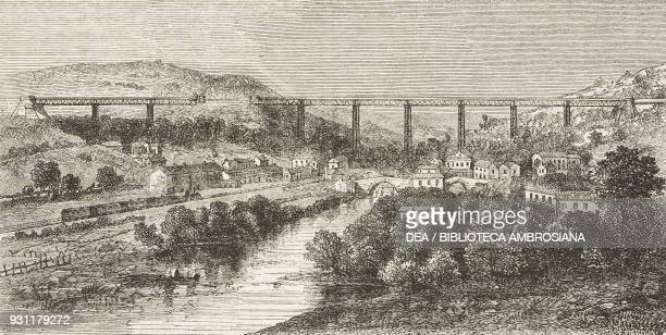 The Crumlin viaduct United Kingdom drawing by JeanBaptiste Henri DurandBrager from A visit to the great workshops of Wales by Louis Laurent Simonin...
