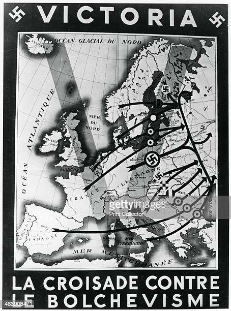 'The Crusade against Bolshevism' Vichy French propaganda poster 1941 Map depicting the Nazi invasion of the Soviet Union Operation Barbarossa...