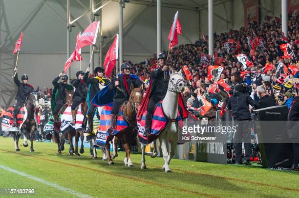 The Crusader horsemen perform prior to the Super Rugby Quarter Final match between the Crusaders and the Highlanders at Orangetheory Stadium on June...