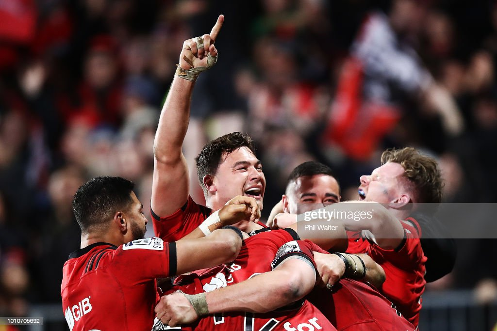 The Crusaders celebrate after winning the Super Rugby Final match between the Crusaders and the Lions at AMI Stadium on August 4, 2018 in Christchurch, New Zealand.