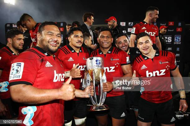 The Crusaders celebrate after winning the Super Rugby Final match between the Crusaders and the Lions at AMI Stadium on August 4 2018 in Christchurch...