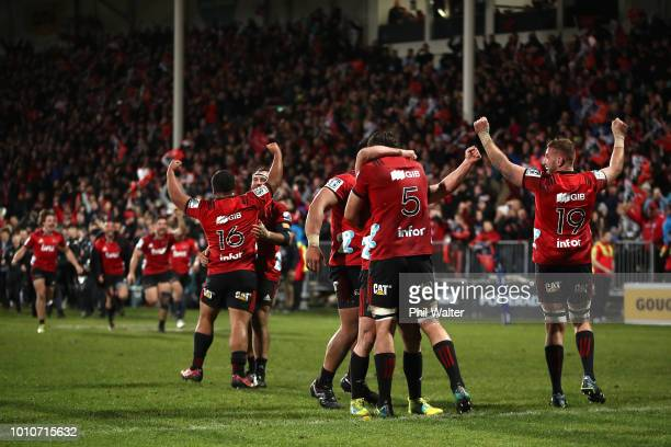 The Crusaders celebrate on full time during the Super Rugby Final match between the Crusaders and the Lions at AMI Stadium on August 4 2018 in...