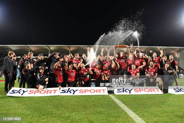 The Crusaders celebrate their win following the Super Rugby Aotearoa Final match between the Crusaders and the Chiefs at Orangetheory Stadium, on May...