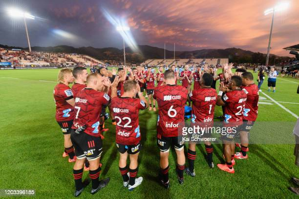 The Crusaders celebrate their win in the Round 1 Super Rugby match between the Crusaders and the Waratahs at Trafalgar Park on February 01 2020 in...