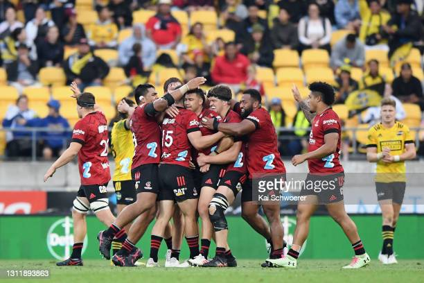 The Crusaders celebrate their win in the round seven Super Rugby Aotearoa match between the Hurricanes and the Crusaders at Sky Stadium, on April 11...